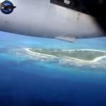 pohľad na ostrov z lietadla